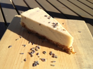 Raw lemon and lavender cheesecake. Mmmm...