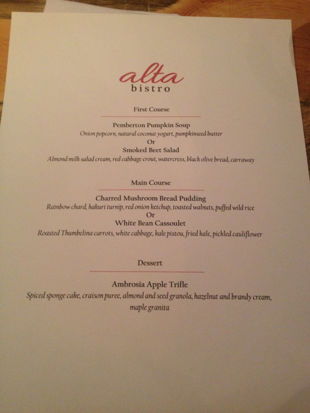 Alta Bistro Vegan Dine-Out