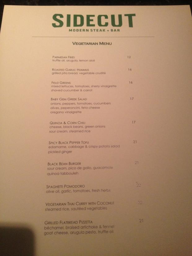 Sidecut Vegetarian Menu