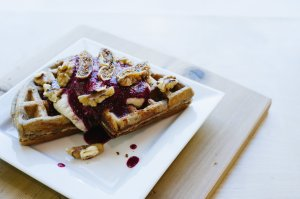 Green Moustache Banana Buckwheat Waffles
