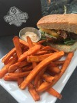 GLC Tempeh Burger with Yam Fries